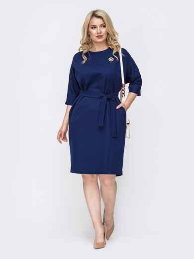 Синее платье батал с пуговицами сзади 49789, фото 1