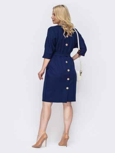 Синее платье батал с пуговицами сзади 49789, фото 2