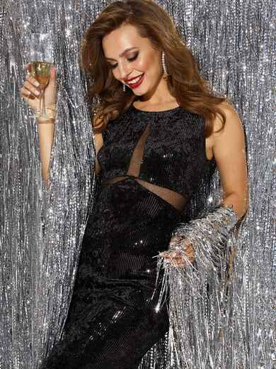 Велюровое платье с пайетками и вставками из сетки чёрное 42794, фото 1
