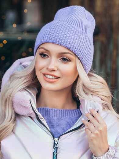 Вязаная шапка с подворотом фиолетовая 50130, фото 1
