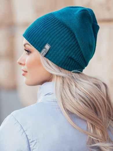 Зимняя шапка на флисе цвета бутылка 50124, фото 2