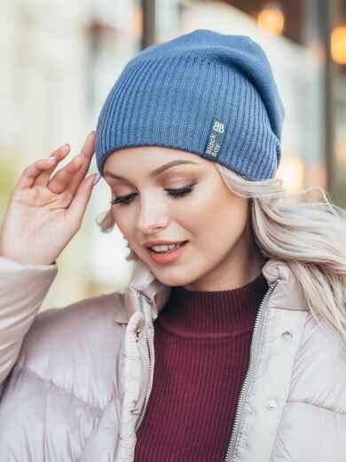 Зимняя шапка на флисе синего цвета 50122, фото 1
