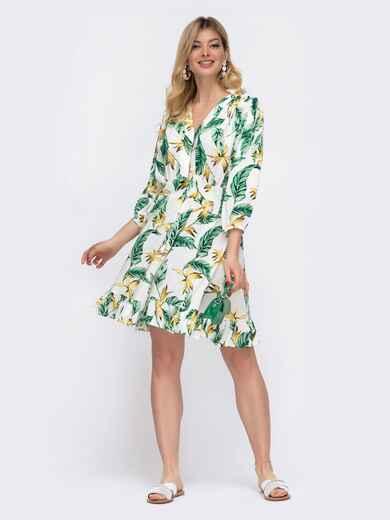 Белое платье на пуговицах в цветочный принт  48043, фото 1