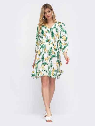 Белое платье на пуговицах в цветочный принт  48043, фото 2