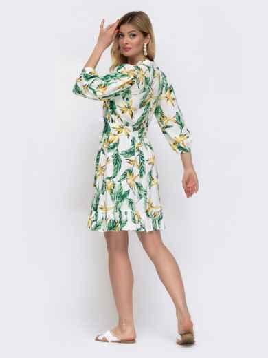 Белое платье на пуговицах в цветочный принт  48043, фото 3