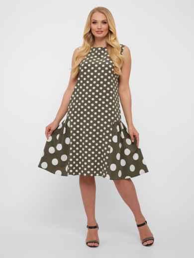 Платье большого размера цвета хаки в крупный горох  48571, фото 2