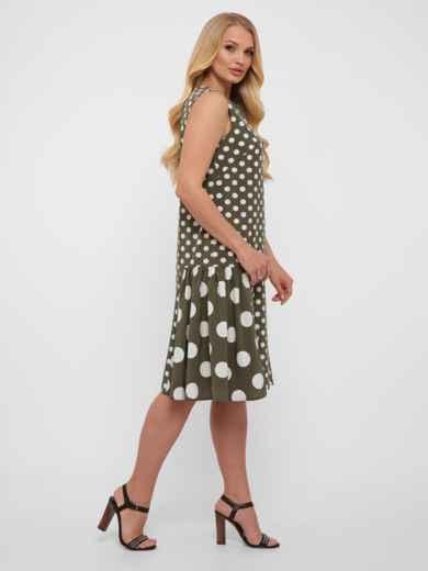 Платье большого размера цвета хаки в крупный горох  48571, фото 3