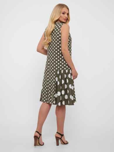 Платье большого размера цвета хаки в крупный горох  48571, фото 4