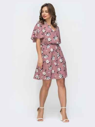 Пудровое платье с принтом и резинкой по талии 46838, фото 2