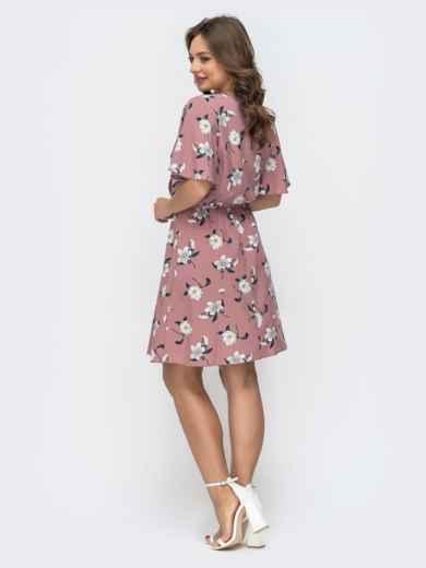 Пудровое платье с принтом и резинкой по талии 46838, фото 3