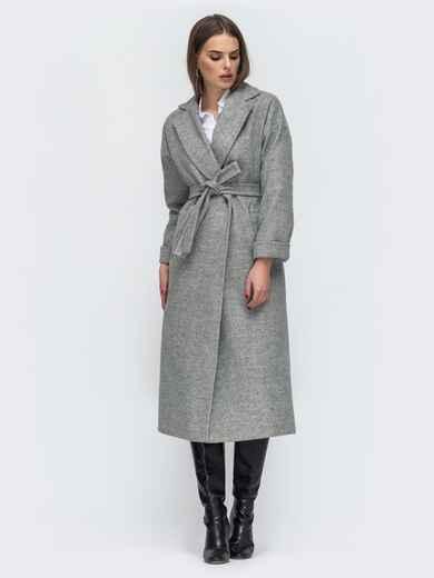 Серое пальто в стиле oversize 45147, фото 1