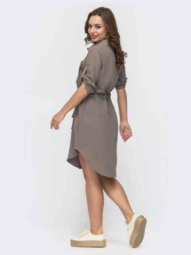 Серое платье приталенного силуэта застёгивается на пуговицы 47023, фото 2