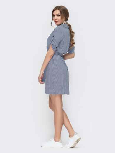 Синее платье приталенного силуэта в полоску 47025, фото 2