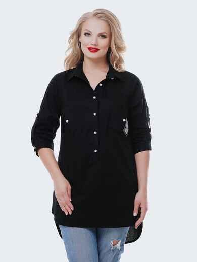 Удлиненная рубашка из хлопка со шлейфом черная 37037, фото 1