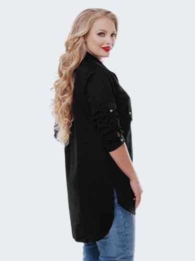 Удлиненная рубашка из хлопка со шлейфом черная 37037, фото 2