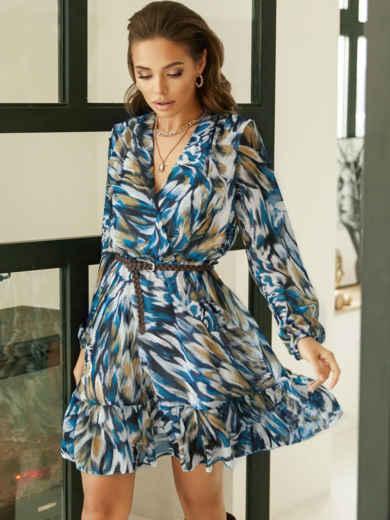 Принтованное платье из шифона с запахом и воланом по низу голубое 53104, фото 1