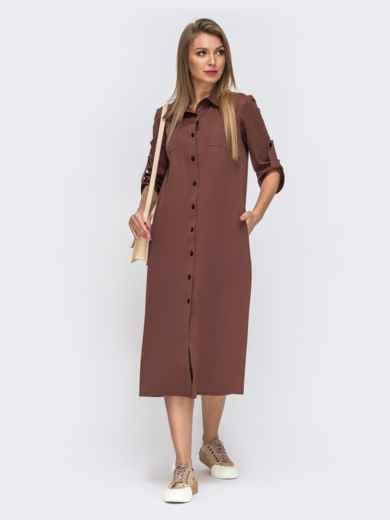 Терракотовое платье-рубашка с накладными карманами 51043, фото 2