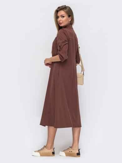 Терракотовое платье-рубашка с накладными карманами 51043, фото 3