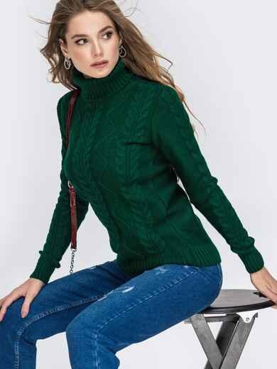 Зелёный свитер с ажурной вязкой и высоким воротником 42148, фото 1