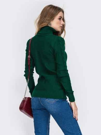 Зелёный свитер с ажурной вязкой и высоким воротником 42148, фото 3