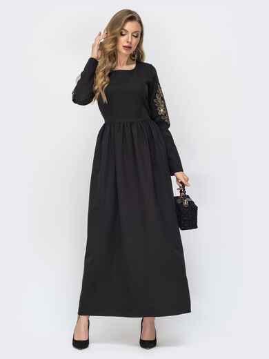Чёрное платье-макси с вышивкой по рукаву - 44872, фото 1 – интернет-магазин Dressa