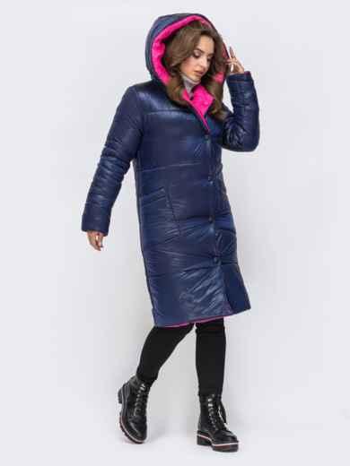 Двухсторонняя куртка с объемным капюшоном синяя 43180, фото 2
