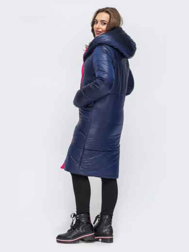 Двухсторонняя куртка с объемным капюшоном синяя 43180, фото 3