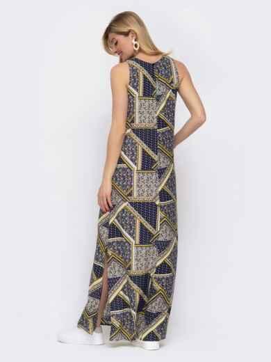 Принтованное платье-макси из штапеля с высокими разрезами по бокам 48039, фото 3