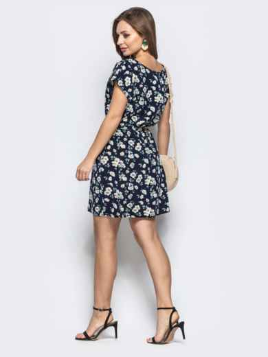 Приталенное платье чёрного цвета с цветочным принтом 21817, фото 3