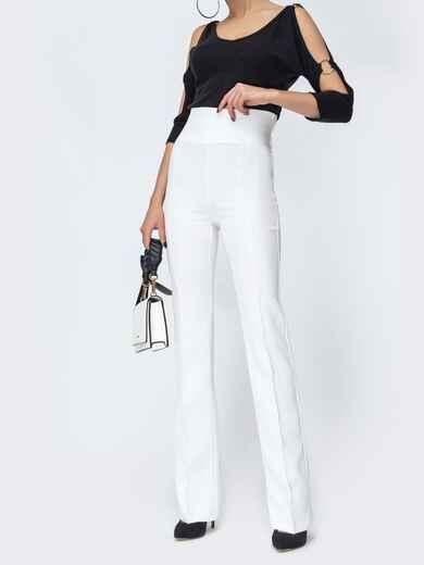 Белые брюки-клёш с высокой посадкой 44074, фото 1