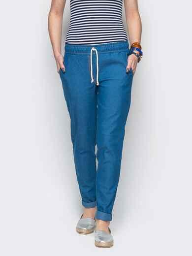 Хлопковые брюки со шнурком синие 10294, фото 1