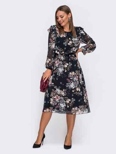 Расклешенное платье из шифона с цветочным принтом чёрное 51114, фото 1