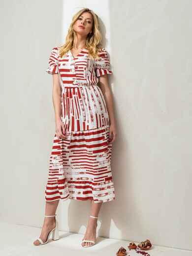 """Платье в красную полоску с пуговицам и рукавом """"фонарик"""" 46843, фото 1"""
