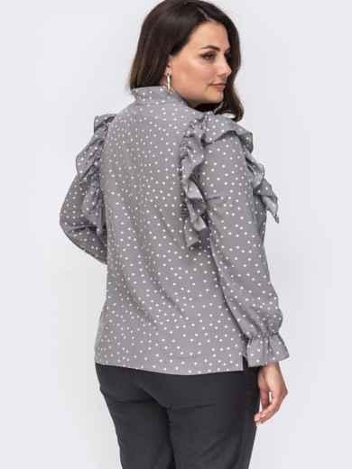 Серая блузка большого размера с воротником аскот  49816, фото 2