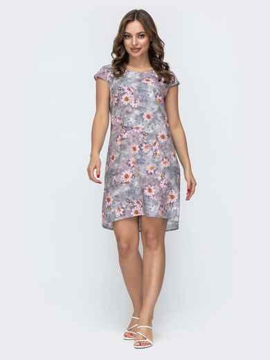 Серое платье свободного кроя с цветочным принтом 46947, фото 1