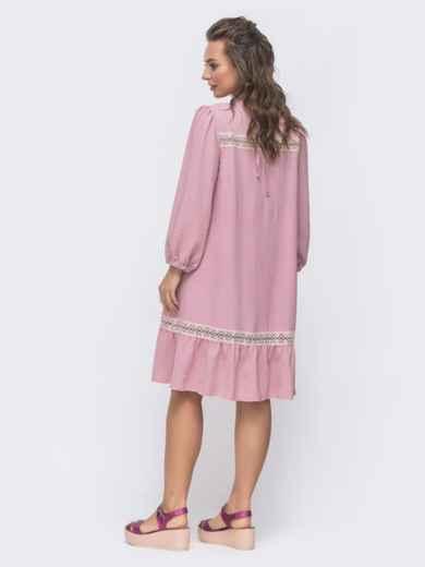Свободное платье с оборкой по низу розовое 46727, фото 2