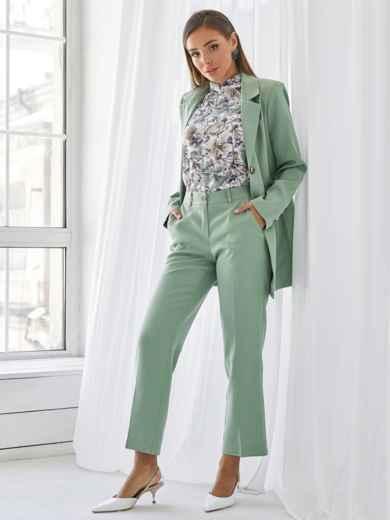 Блузка прямого кроя с принтом и воротником-стойкой белая 49926, фото 4
