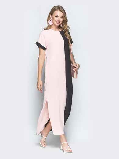 Двухцветное платье-макси в стиле oversize чёрное 39279, фото 1