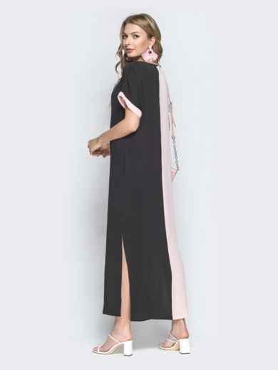 Двухцветное платье-макси в стиле oversize чёрное 39279, фото 2