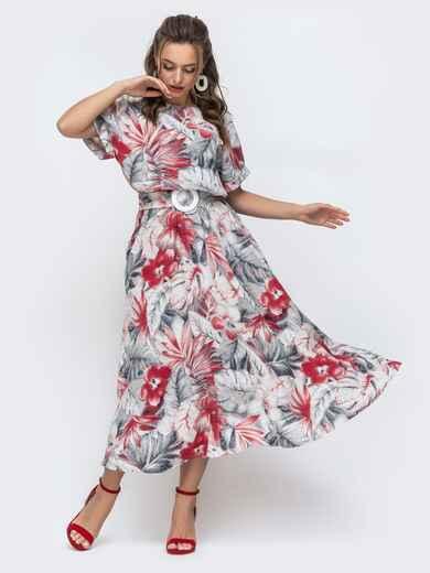 Расклешенное платье с принтом и напуском по талии серое 46871, фото 1