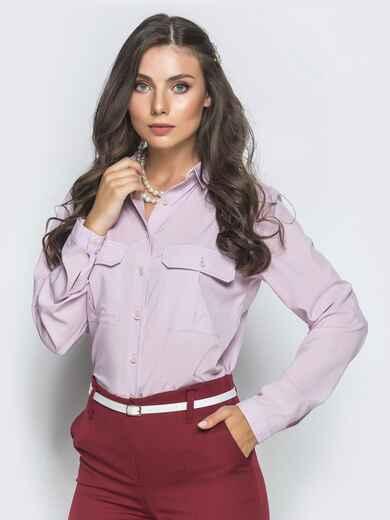 Классическая рубашка розового цвета с накладными карманами 39804, фото 1