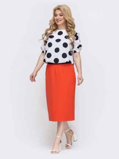 Комплект большого размера из блузки в горох и юбки оранжевый 46316, фото 2