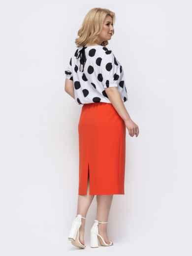 Комплект большого размера из блузки в горох и юбки оранжевый 46316, фото 3