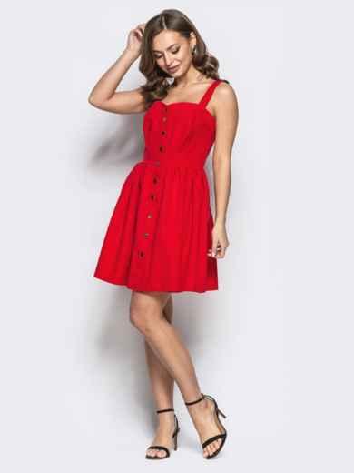 Расклешенное платье на бретелях красное 22224, фото 2