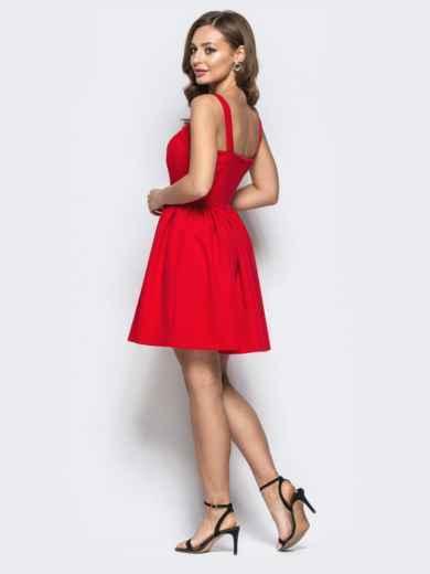 Расклешенное платье на бретелях красное 22224, фото 3