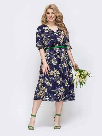 Фиолетовое платье батал с принтом и v-вырезом 46397, фото 1