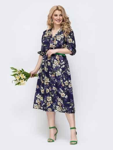 Фиолетовое платье батал с принтом и v-вырезом 46397, фото 2
