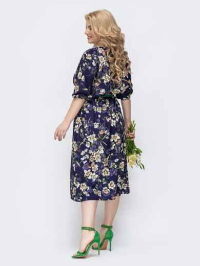 Фиолетовое платье батал с принтом и v-вырезом 46397, фото 3