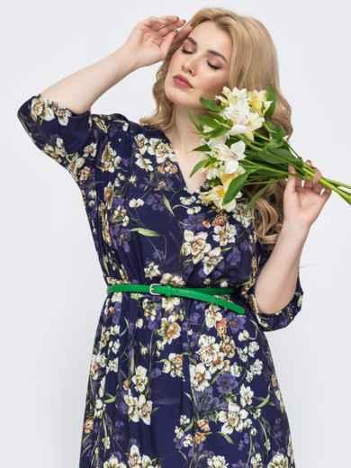 Фиолетовое платье батал с принтом и v-вырезом 46397, фото 4