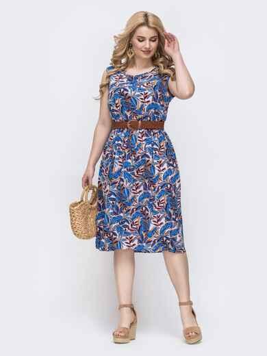 Приталенное платье батал с принтом и резинкой по талии синее 46398, фото 1